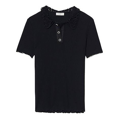 Lace Collared Polo Shirt, ${color}