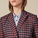 Checked Double-Breasted Blazer, ${color}