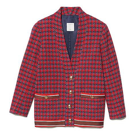Buttoned Tweed Cardi-Coat, ${color}