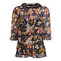 Clover Floral Silk Blend Top, ${color}