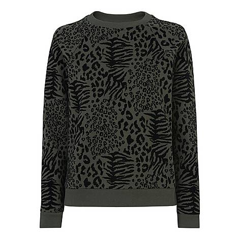 Flocked Animal Print Sweatshirt, ${color}