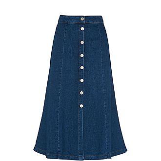 Denim Button-Through Skirt