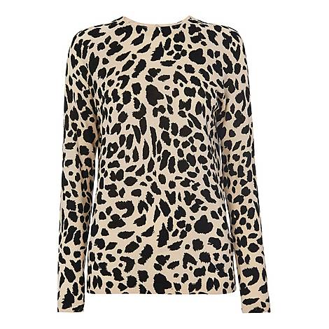 Brushed Cheetah Crew Neck Sweater, ${color}