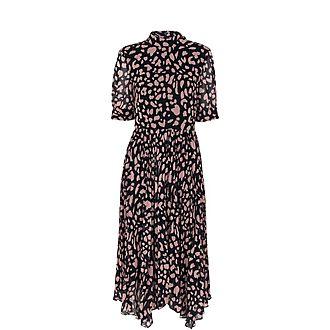 Brushed Cheetah Pleated Dress