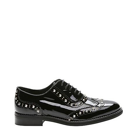 Studded Lacquered Leather Derbies, ${color}