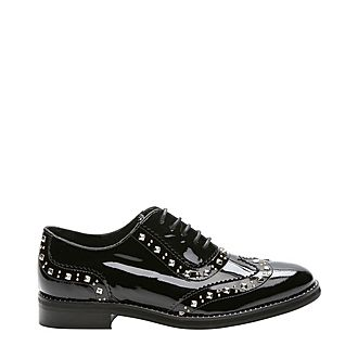 Studded Lacquered Leather Derbies