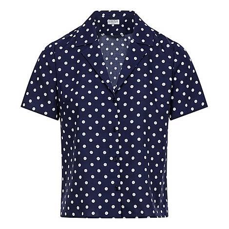 Short-Sleeved Polka-Dot Blouse, ${color}