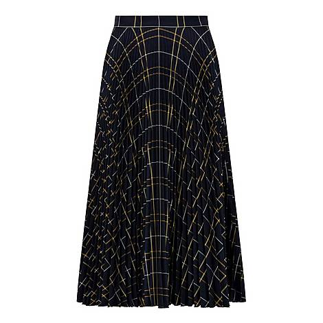 Pleated Checkered Skirt, ${color}
