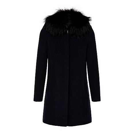 High-Neck Faux Fur Coat, ${color}