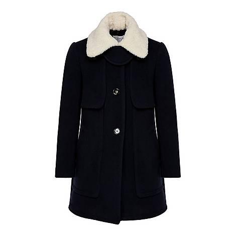Faux Fur Round Neck Coat, ${color}