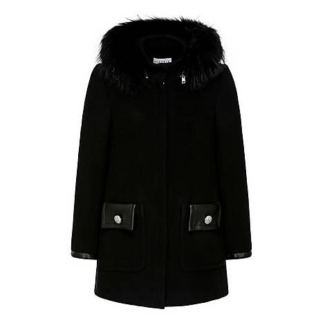 Faux Fur Collar Hooded Coat, ${color}