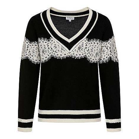 Mike Two-Colour V-Neck Sweater, ${color}