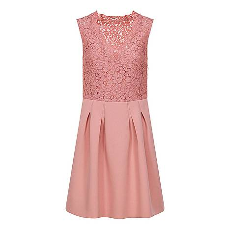Two-Fabric Lace Dress, ${color}
