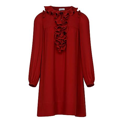 Frill Neck Detail Dress, ${color}