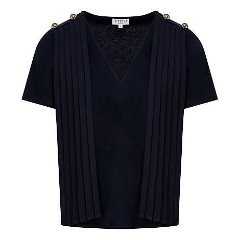 Shoulder Detail Tie Collared T-Shirt, ${color}