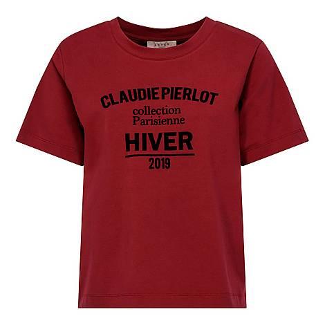 Velvet-Effect Slogan T-Shirt, ${color}