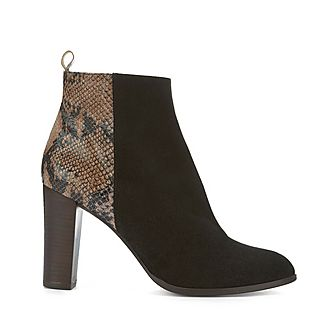 Tanya Snake Effect Ankle Boots