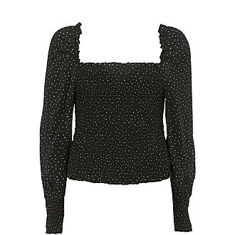 Spotted Square Neck Top