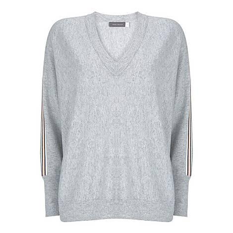 Grey Side Stripe Batwing Knit, ${color}