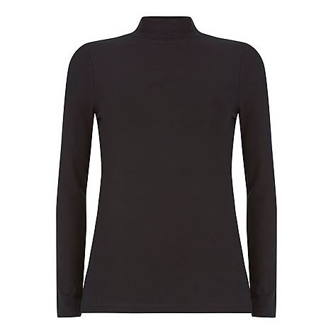 Jersey Polo Neck Top, ${color}