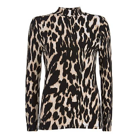Leopard Print Polo Neck, ${color}