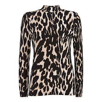 Leopard Print Polo Neck
