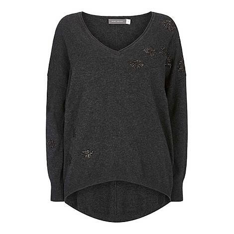 Embellished V-Neck Sweater, ${color}