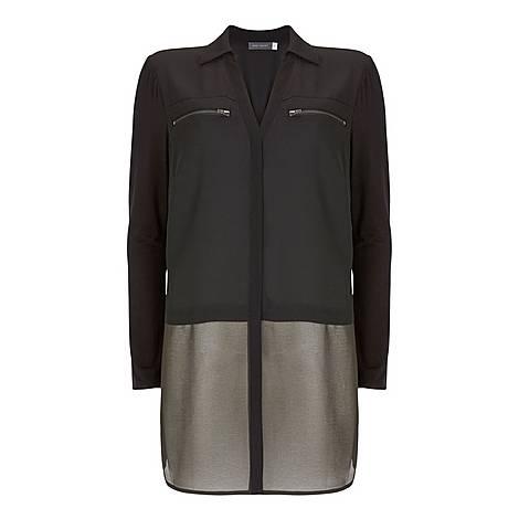 Zip Pocket Blocked Shirt, ${color}