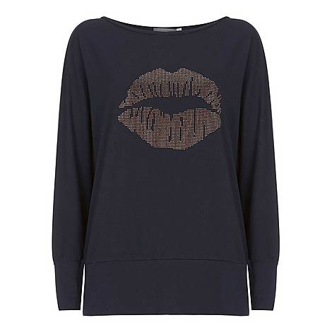 Studded Lips Batwing Top, ${color}