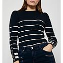 Stripe Puff Sleeve Sweater, ${color}
