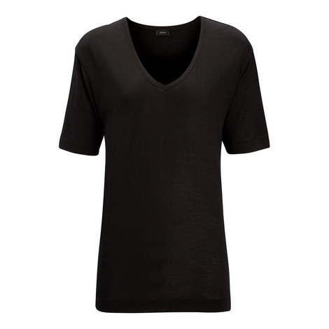 Silk V Neck T-Shirt, ${color}
