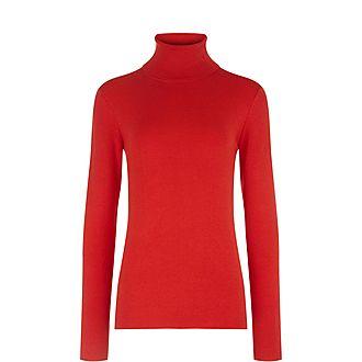 Roll Neck Stretch Silk Sweater