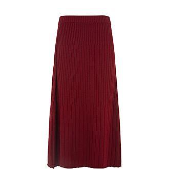 Wrap Ribbed Knit Skirt