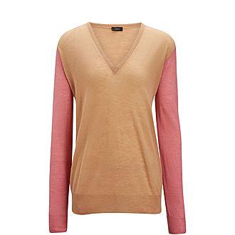 V Neck Cashair Patch Sweater