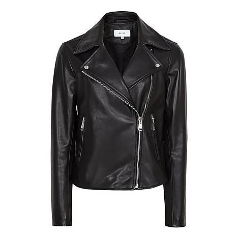 Geo Leather Biker Jacket, ${color}