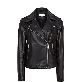 Geo Leather Biker Jacket