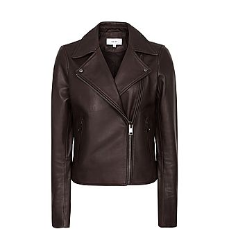 Geo Leather Biker Jacket