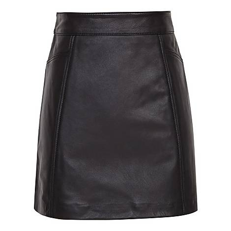 Arden Leather Mini Skirt, ${color}
