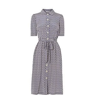 Irenie Ric Rac Print Silk Shirt Dress