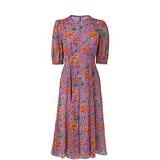 Garland Floral Silk Dress
