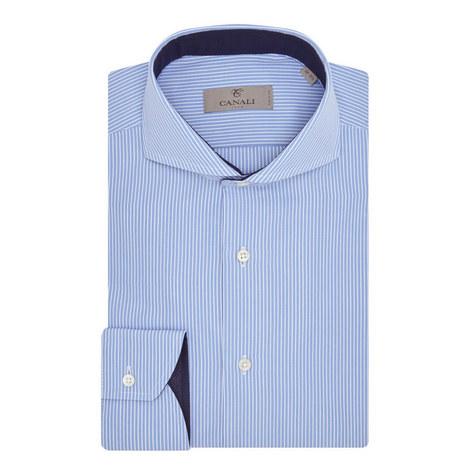 Striped Contrast Trim Shirt, ${color}