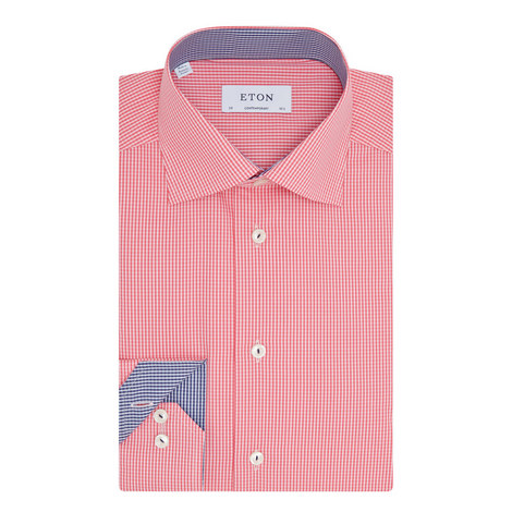 Gingham Print Cotton Shirt, ${color}