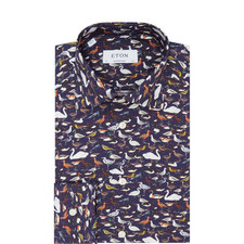Bird Print Slim Fit Shirt