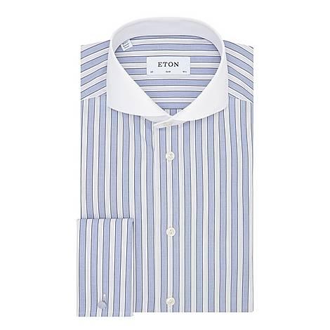 Contrast Collar Slim Shirt, ${color}
