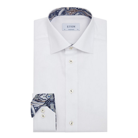 Paisley Trim Twill Shirt, ${color}