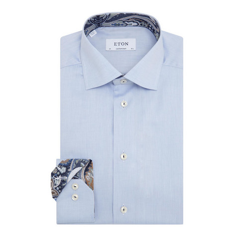 Paisley Trim Twill Shirt, ${color}