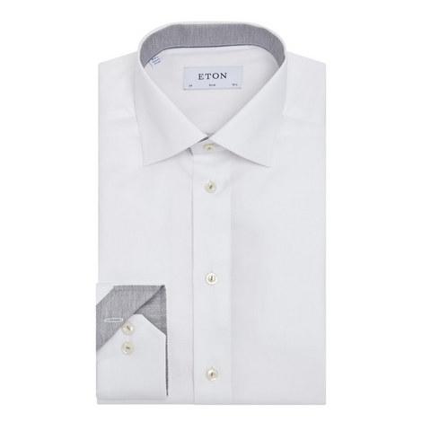 Slim Twill Floral Trim Shirt, ${color}
