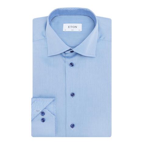 Micro-Print Trim Twill Shirt, ${color}