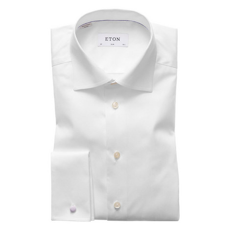 Slim Twill Double Cuff Shirt, ${color}