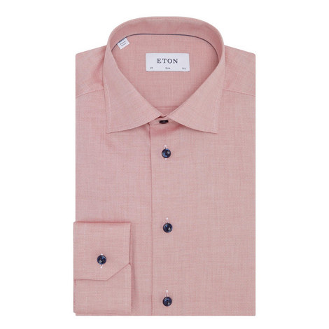 Textured Slim Cotton Shirt, ${color}